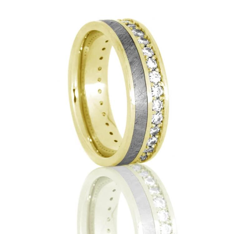 Diamond Eternity Band With Gibeon Meteorite, 14k Yellow Gold Ring-DJ1012YG - Jewelry by Johan
