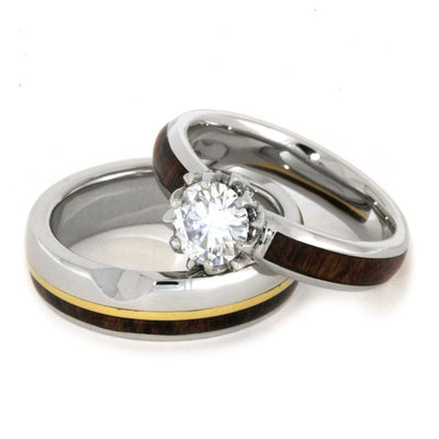 Moissanite bridal Set with yellow gold and wood