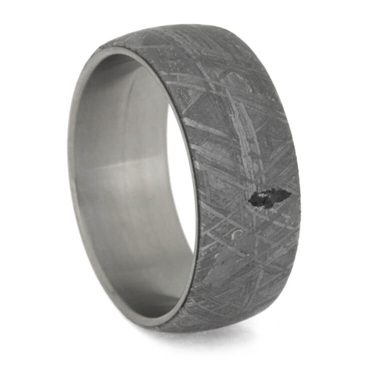 Masculine Meteorite Ring In Matte Titanium, Size 10.25-RS9719 - Jewelry by Johan