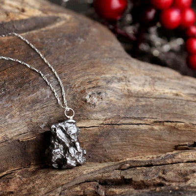 Meteorite Necklace with Sterling Silver Chain