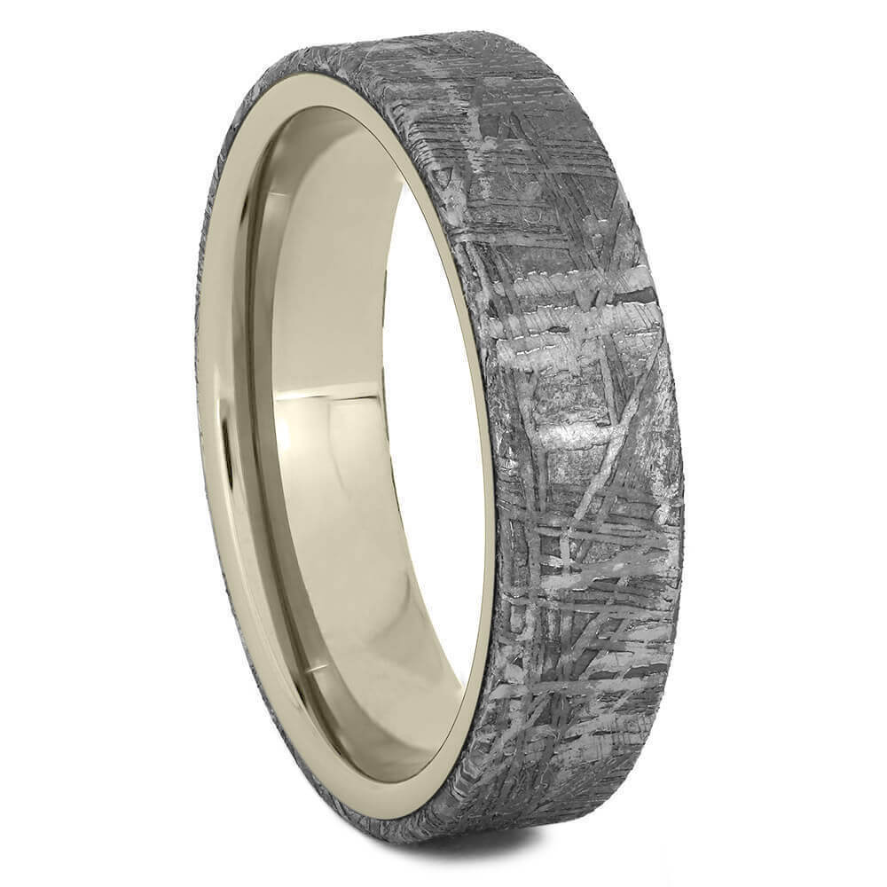 Gibeon Meteorite Overlay Wedding Band, Unique White Gold Ring-2439 - Jewelry by Johan