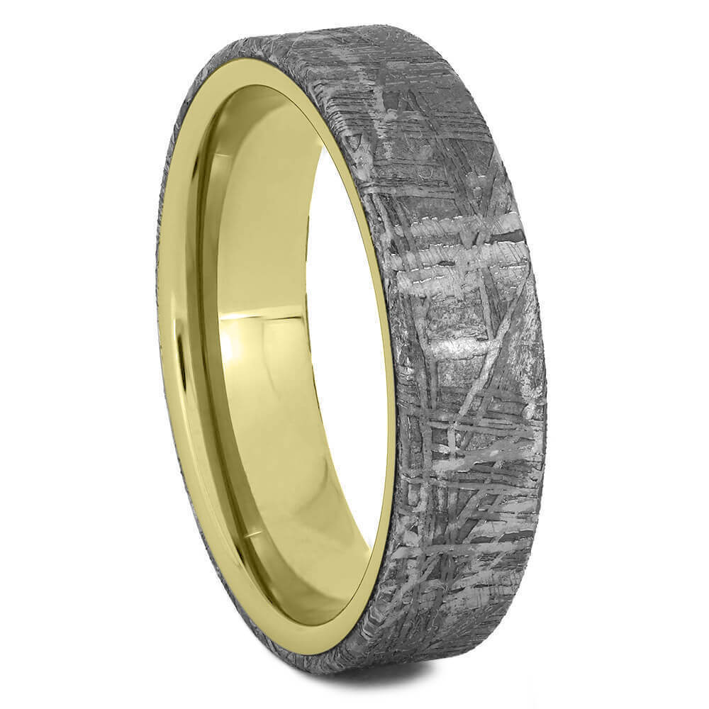 Gibeon Meteorite Overlay Wedding Band, Unique Yellow Gold Ring-2438 - Jewelry by Johan