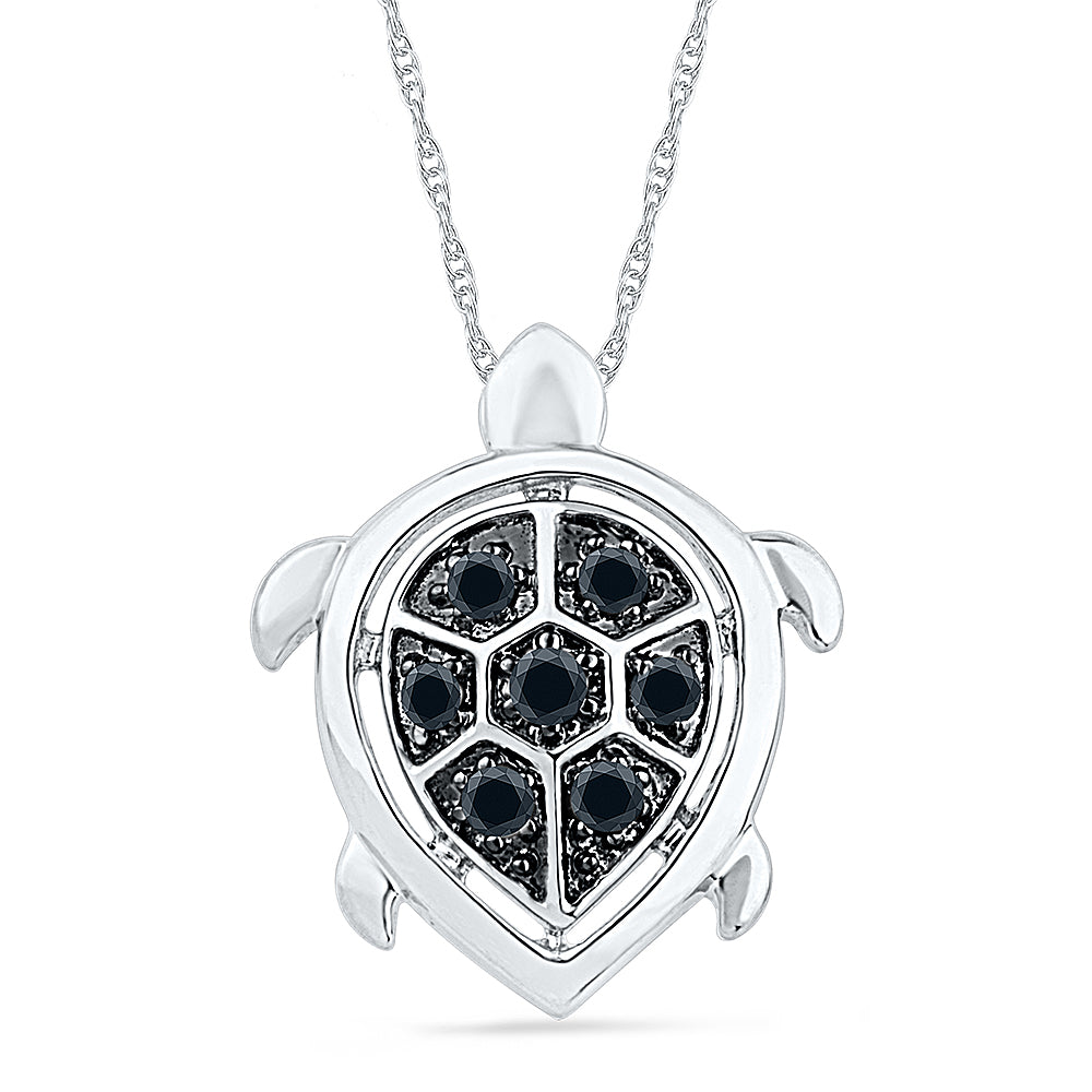 Turtle Necklace With Black Diamond Accents in Sterling Silver-SHPF070229-SS - Jewelry by Johan