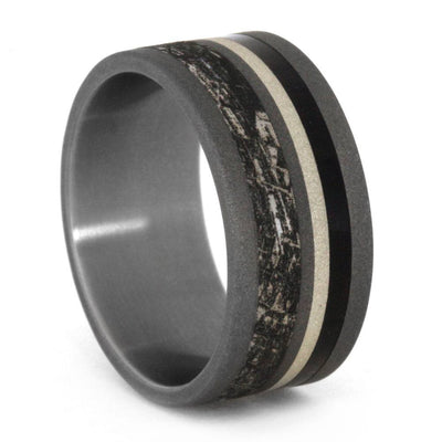 Mimetic Meteorite Ring, Titanium Men's Ring With Wood And Unique Engraving-3225 - Jewelry by Johan