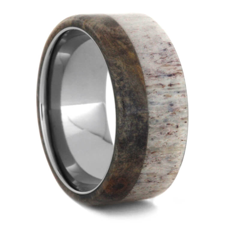 Deer Antler And Buckeye Burl Wood Men's Wedding Band-3542 - Jewelry by Johan
