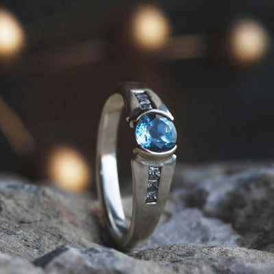 Sky Blue Topaz Engagement Ring Styled In Sterling Silver-2187