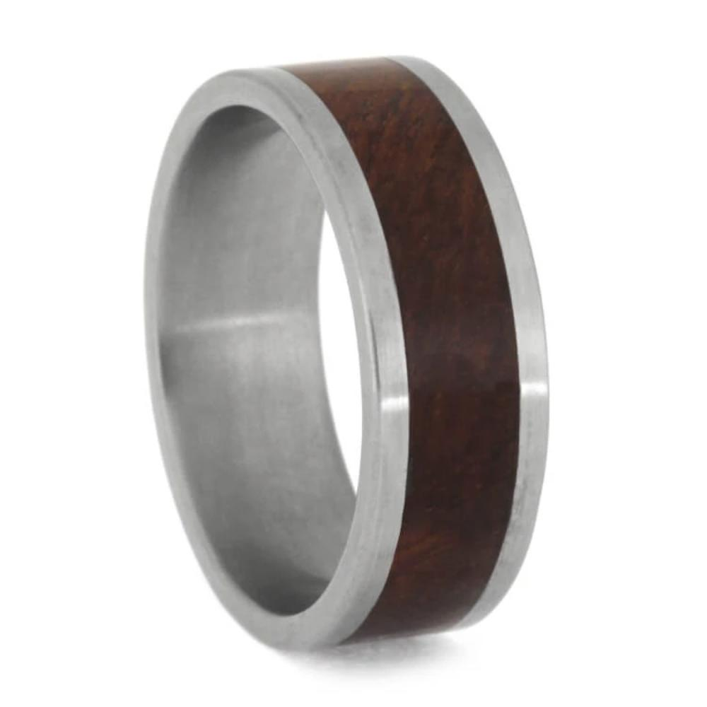 Amboyna Burl Wood Ring, Titanium Wedding Band-1045 - Jewelry by Johan
