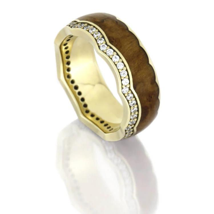 Diamond Eternity Wedding Band, Teak Wood Crown Ring With Yellow Gold-DJ1014YG - Jewelry by Johan