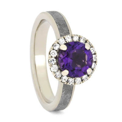 Amethyst Engagement Ring, White Gold Halo Ring With Meteorite