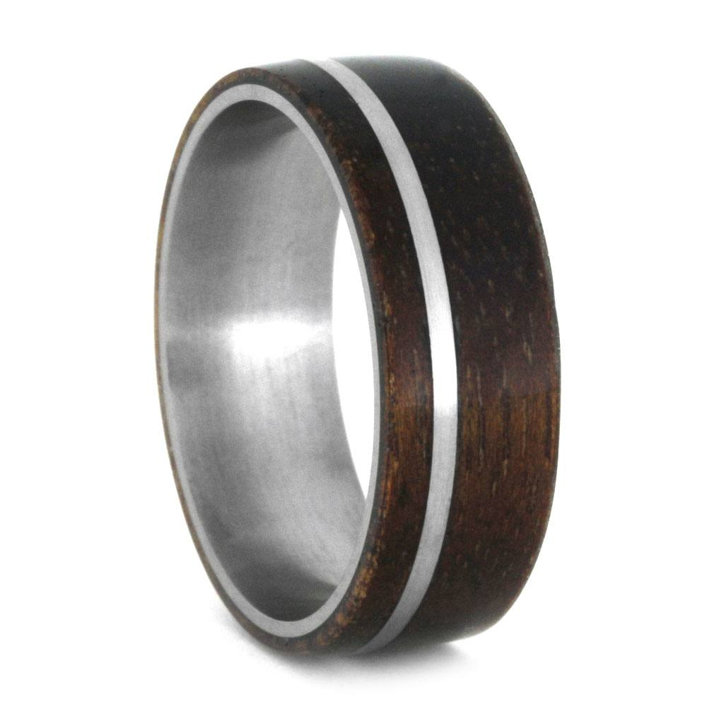 Dark Wood Men's Wedding Band With Titanium Pinstripe, Size 11.25-RS8763 - Jewelry by Johan