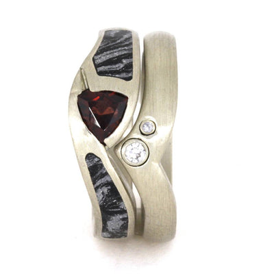 White Gold Bridal Set, Diamond Wedding Band with Ruby Engagement Ring-3343 - Jewelry by Johan