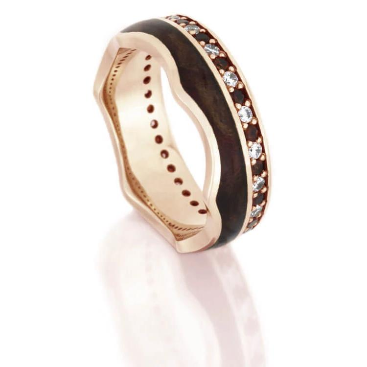 Crown Ring, Gemstone Eternity Wedding Band in Rose Gold With Wood-DJ1020RG - Jewelry by Johan