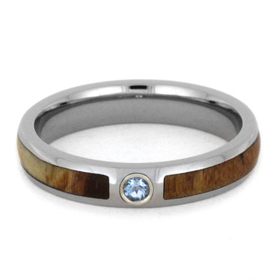 Aquamarine Wedding Band With Rowan Wood, Titanium-2946 - Jewelry by Johan