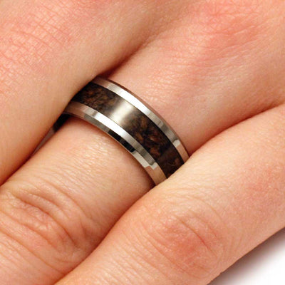 Tungsten Men's Wedding Band with Crushed Dinosaur Bone-3152 - Jewelry by Johan