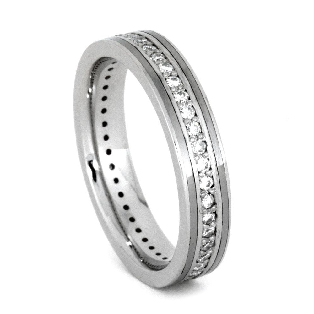prong cut white band in eternity wedding bands round brilliant carats tgw moissanite gold set