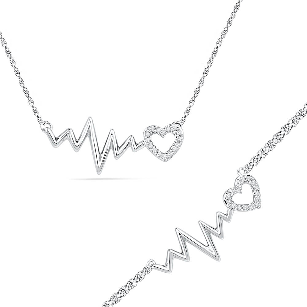 Heartbeat Necklace and Bracelet Gift Set in Sterling Silver-SHGS3008