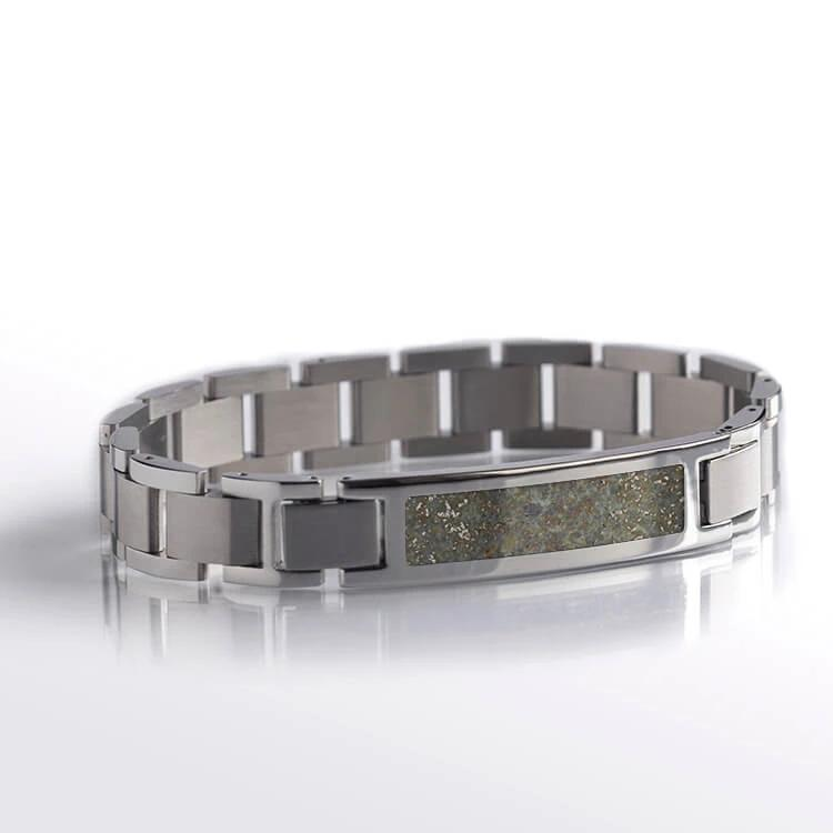 Space Bracelet With El Hammami Meteorite, Steel Bracelet Set-BR1004-2 - Jewelry by Johan