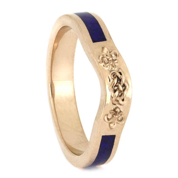 Celtic Knot Bridal Wedding Band, Rose Gold Ring With Lapis Lazuli-2640 - Jewelry by Johan