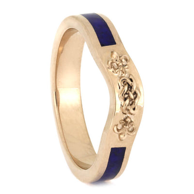 Celtic Knot Bridal Wedding Band, 14k Rose Gold Ring With Lapis Lazuli-2640