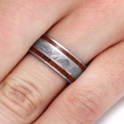Wood And Meteorite Ring With Mahogany Wood Inlay-2134 - Jewelry by Johan