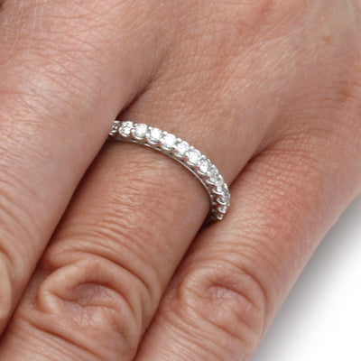 Ladies Diamond Wedding Band in Sterling Silver On a Hand