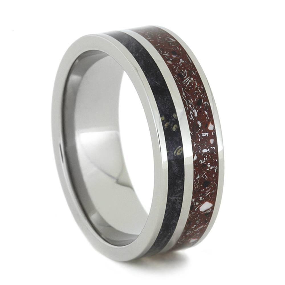 Red Concrete Stardust™ and Black Box Elder Burl Wood Ring, Size 10-RS8317 - Jewelry by Johan