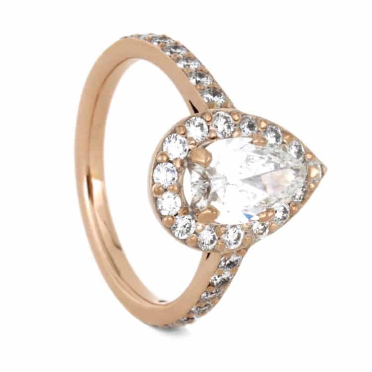 Pear Shaped Moissanite Engagement Ring, Diamond Halo Ring in Rose Gold-2309