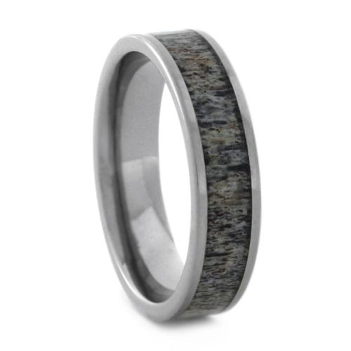 Deer Antler Wedding Band In Brushed Titanium, Size 10.5-RS9049 - Jewelry by Johan