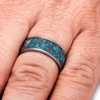 Mens Wedding Band Titanium Ring with Crushed Turquoise-2229 - Jewelry by Johan