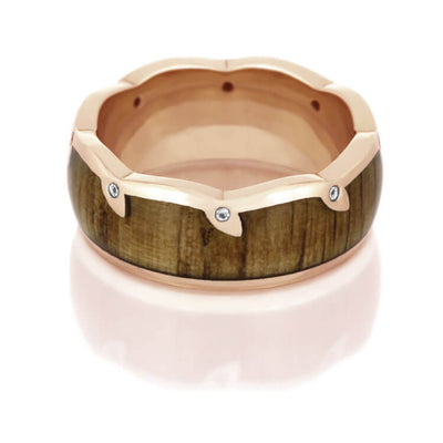 Oak Wood Wedding Band With Unique Diamond Eternity Edge-DJ1007RG - Jewelry by Johan