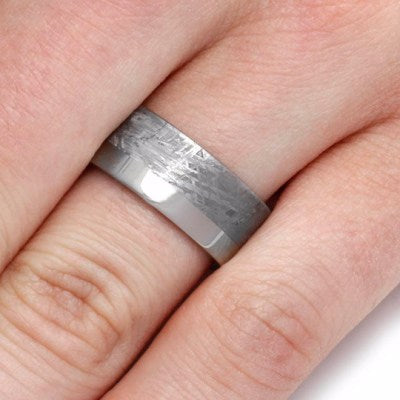 Two Tone Meteorite Wedding Band, Titanium Ring-2101 - Jewelry by Johan