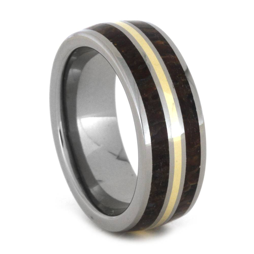 Dinosaur Bone Men's Wedding Band with Yellow Gold Pinstripe, Size 8-RS8877 - Jewelry by Johan