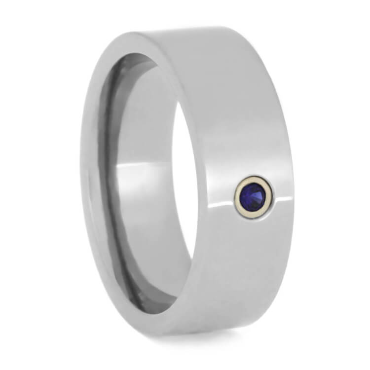 Women's Wedding Band With Bezel Set Sapphire, Size 4.25-RS9665 - Jewelry by Johan