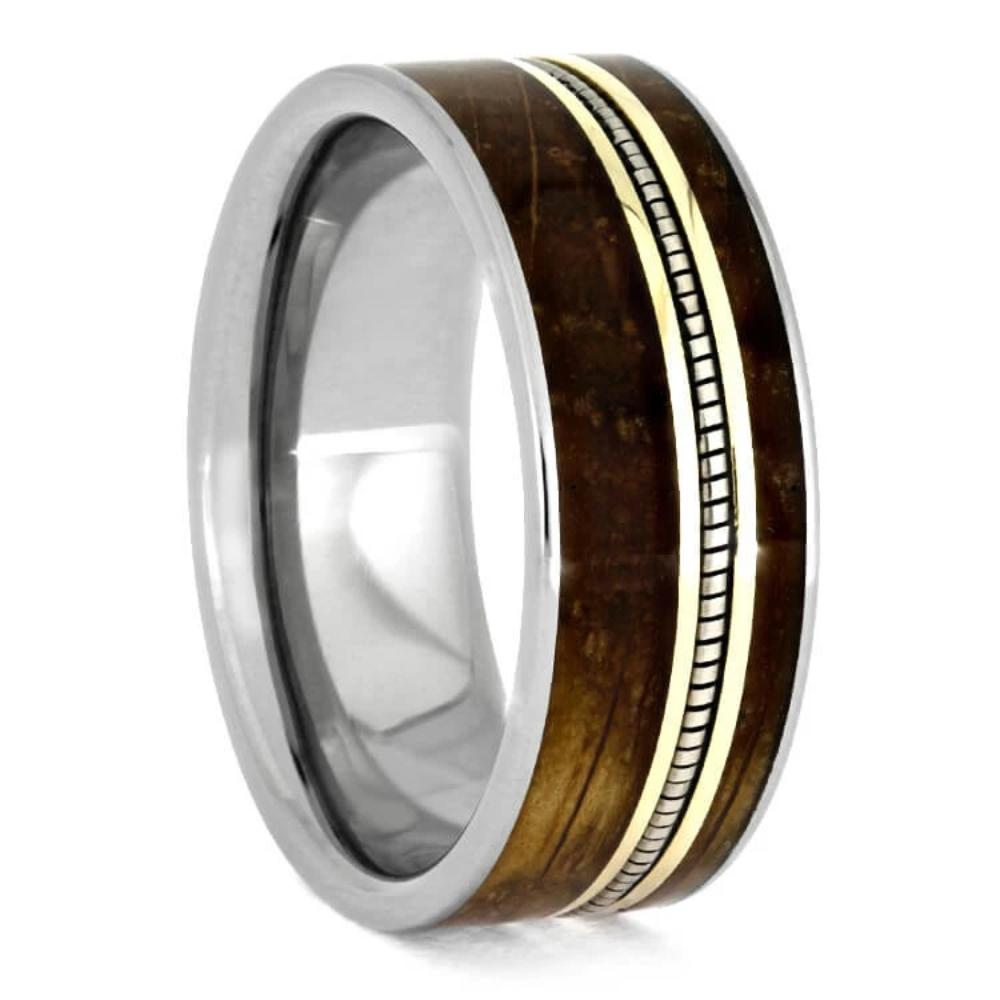 Cello String Ring With Whiskey Barrel Wood-3651 - Jewelry by Johan