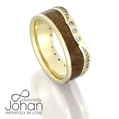 Custom Diamond Eternity Wedding Band, Yellow Gold Ring With Wood-DJ1018YG - Jewelry by Johan