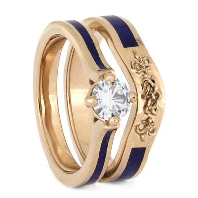 Lapis Lazuli Bridal Set, Moissanite Engagement Ring With Rose Gold Wedding Band-2642