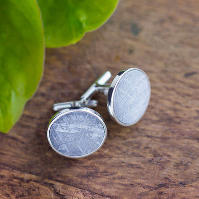 Meteorite Cuff Links, Sterling Silver Men's Accessories-SIG3042