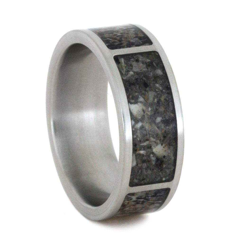 Titanium Pet Memorial Ring With Deer Antler And Pet Ash Inlays