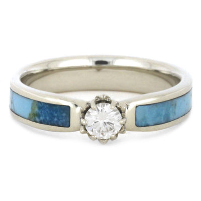Moissanite Ring, Turquoise Engagement Ring With Flower Setting-3469 - Jewelry by Johan