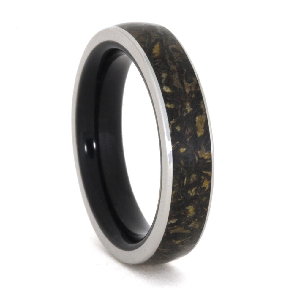 Dinosaur Bone Men's Wedding Band With Wooden Sleeve-3293 - Jewelry by Johan