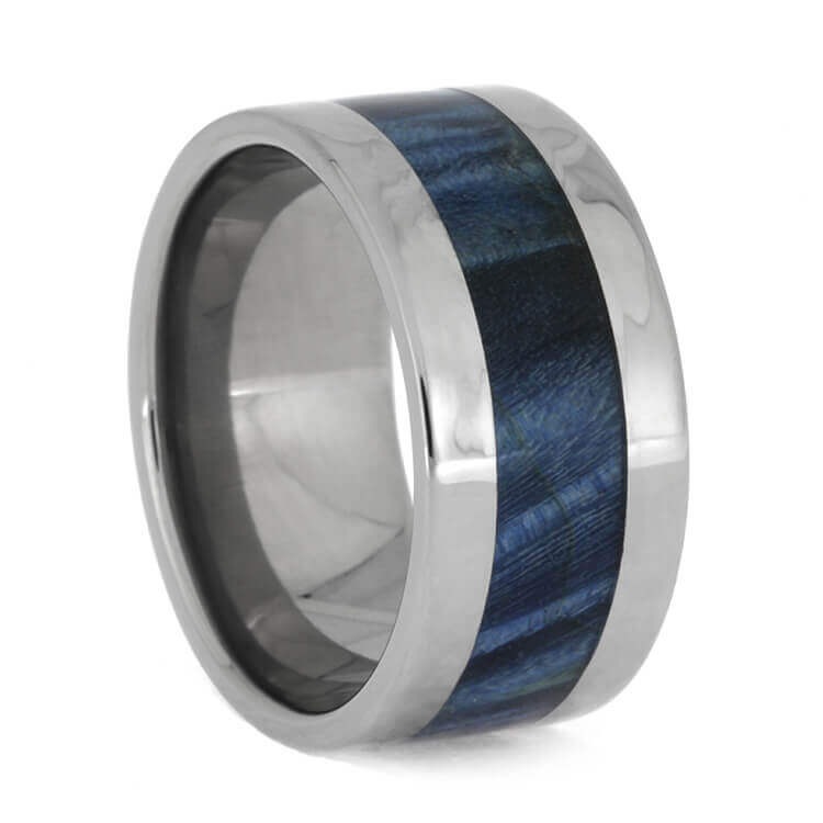 Blue Box Elder Burl Wood Band In Polished Titanium, Size 8.25-RS9976 - Jewelry by Johan