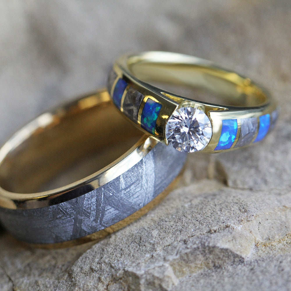 Unique Gold Wedding Ring Set, Diamond And Opal Ring With Meteorite Wedding Band-3460 - Jewelry by Johan