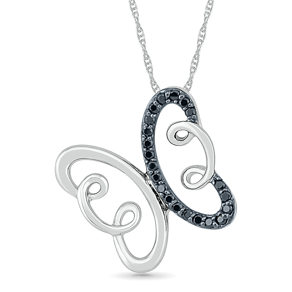 Black Diamond Butterfly Necklace, Silver or White Gold-SHPF077198 - Jewelry by Johan