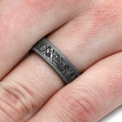 Sandblasted Mimetic Meteorite Ring On Titanium-2839 - Jewelry by Johan