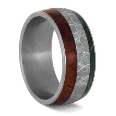 Meteorite Wedding Ring Set, Moissanite Engagement Ring With Wood Wedding Band-2385 - Jewelry by Johan