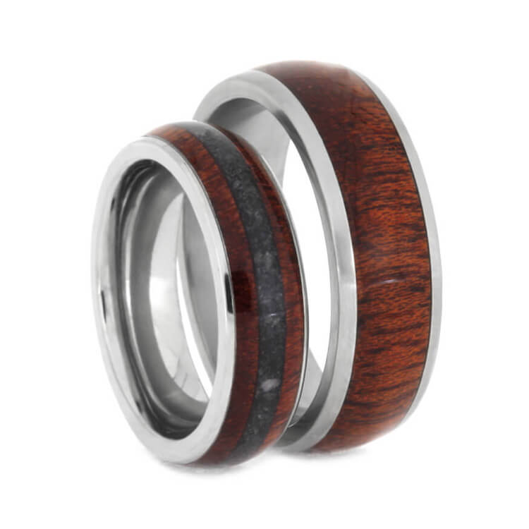 Crimson Bloodwood Ring Set, Titanium Wedding Band With Crushed Onyx-2377 - Jewelry by Johan