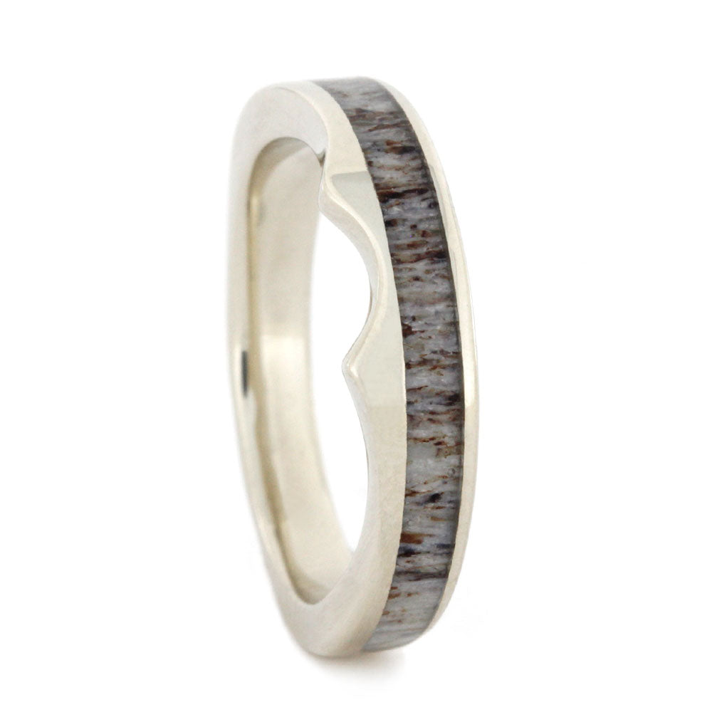 Custom Men's Wedding Band with Antler In White Gold