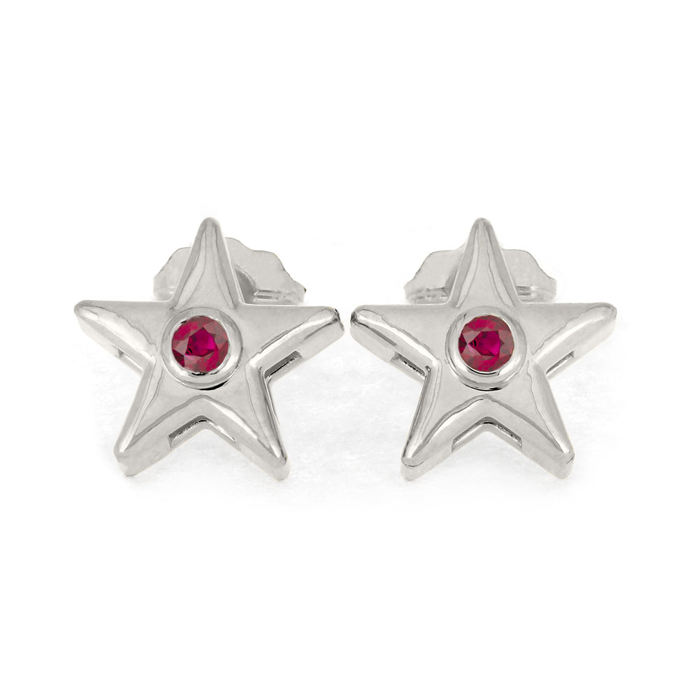 July Birthstone Gold Star Earrings with Ruby-4650RB - Jewelry by Johan