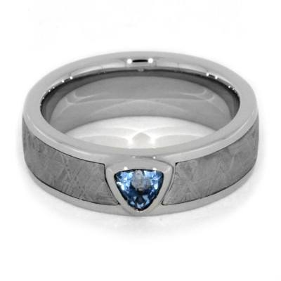 Blue Topaz Ring with Meteorite in White Gold Engagement Ring-1847 - Jewelry by Johan