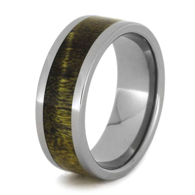Black and Yellow Poplar Wood Ring Made in Solid Titanium-1986 - Jewelry by Johan